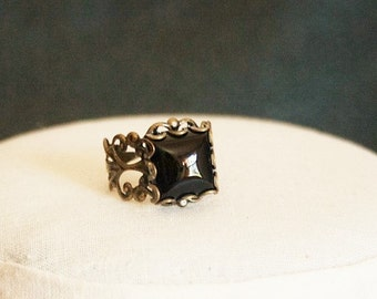 Black Onyx Ring Black Stone Ring Antiqued Gold Filigree Ring Black Ring Black Gemstone Ring Black Square Ring