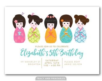 Girl Birthday Invitation, 5th Birthday Invite, Kokeshi Dolls, Doll Invitation | 1st, 2nd. 3rd, 4th, 5th Printable DIY | 1505