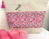 Liberty of London 'Party Bird' project bag with silk tassel ..... Pink Poppy & Daisy