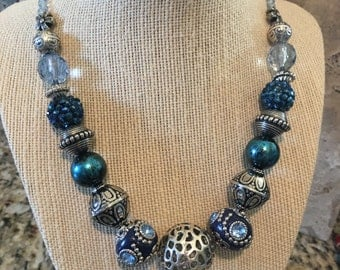 Chunky Navy Blue and Silver Beaded Statment necklace