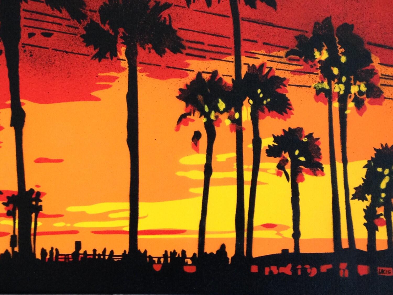 1 digital download sunset in los angeles stencil art painting for Painting in los angeles