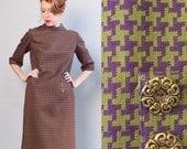 RESERVED 1960's Mod Houndstooth Dress / 60s Shift Dress / Size 12 Medium Large