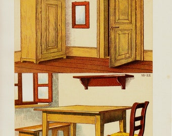 1903Antique Woodworking print, carpentry, carpenter, chromolithograph, 12 x 9 inches