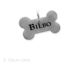 Silver LOTR Bone Dog Tag - Glow in the Dark - Personalized Dog Pet ID - Waterproof Name Tag - Male Dog Collar Accessory - Handmade Name Tag