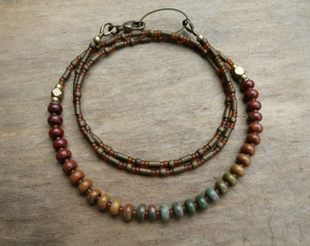 Dainty Jasper Rainbow Necklace. multicolored Picasso jasper layering necklace, everyday Bohemian hippie beaded jewelry