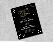 New Years Eve Wedding Save the Dates - Glitter Confetti - Magnets Available - Personalized Printable File or Print Pkg Avail - #00107-STDA2