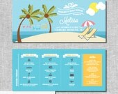 Beach Bachelorette Invitation with Itinerary - Personalized Printable File or Print Package -  #00176-PI10