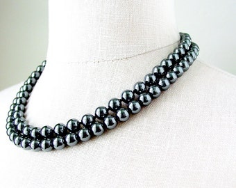 Hematite Two Strand Necklace or Choker Sterling Silver