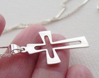 Mid Century Style Cross Necklace Sterling Silver