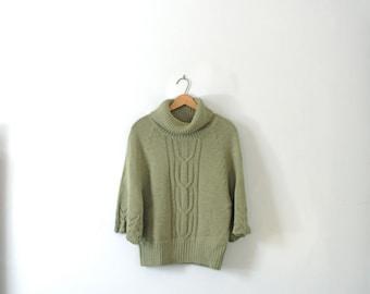 Vintage 90's green turtleneck wool sweater, size large