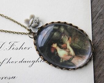 Lamia Necklace. John William Waterhouse. (magnifying pendant art book illustration jewelry antique romantic Keats knight jewellery)