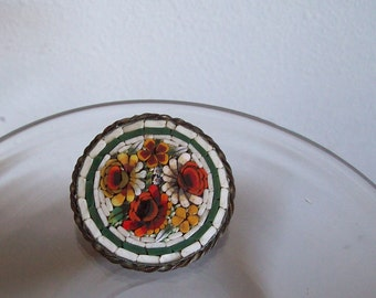 Antique micro mosaic pin brooch Made in Italy Free shipping to USA