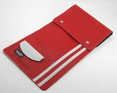 Vintage Racing Stripe Drum Stick Bag- Made 0f 70s El Camino Car Vinyl- In Red or Emerald