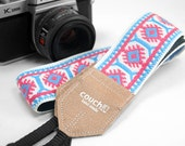 The Imagining Sun Camera Strap - Pink & Sky- Made of Vintage Hippie Weave Fabric