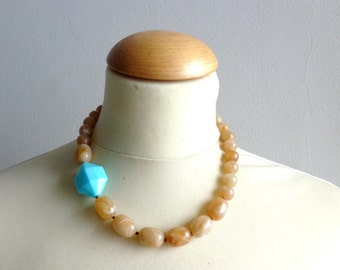 Brown turquoise necklace modern simple necklace