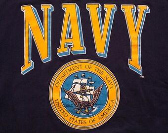 NAVY Crest Sweatshirt, United States Military Department, Vintage 80s-90s