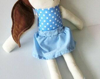 Amanda Doll Handmade Traditional Plush Doll Girly Blue Polka Dress