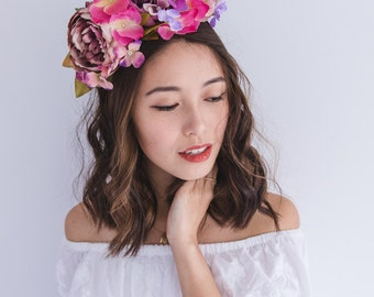SALE - flower crown // spring racing flower crown headband fascinator, statement floral headpiece, melbourne cup, oaks day