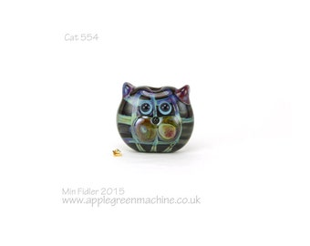Tartan glass cat bead 554