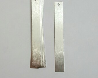 1/4 x 2 - Aluminum rectangles -1 hole -  20g - hand stamping blanks -Great for making earrings
