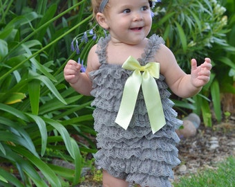 Baby Gray Romper Set, Lace Baby Romper, Lace Romper Baby Girl, Birthday Outfit, Ruffle Rompers, Girls Rompers, Petti Romper, Toddler Rompers