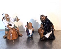 vintage Chinese mud figures - 1930s-40s Chinese art sculptures clay mud numbered set of 3