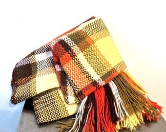 vintage fringed blanket - 1960s orange/green/yellow woven blanket