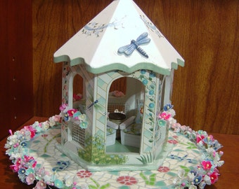 Dollhouse miniature gazebo garden furniture 1:24 scale half scale