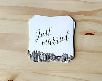 Just Married Coasters with NYC Skyline for wedding reception, CUSTOMIZABLE for Rehearsal Dinners, Events, Housewarming Gift; paper coasters