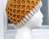 Crochet Lattice Hat - Goldenrod Tan