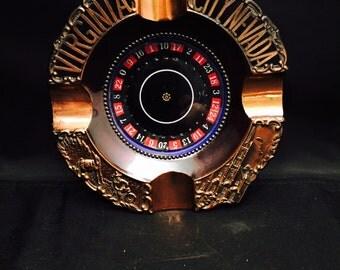 Vintage Souvenir Virginia City Roulette Wheel Ashtray Copper 1960s, Mechanical Game