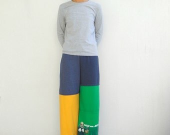 Notre Dame Recycled T-Shirt Pants Fighting Irish Women's Pants Football Tee Pants Green Blue Gold Gray L - XL Cotton Handmade Pants ohzie