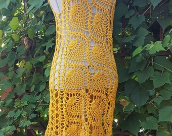 SALE:Beach Dress / Cover Up / Open Shoulder Neckline / Daffodil Yellow Color / Size M / Ready to ship