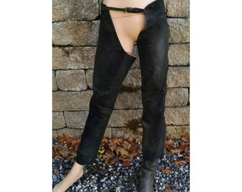Leather Chaps / Black Leather Chaps / Cowboy Chaps / Motorcyle Chaps / Born to be Wild / heavy Duty Zipper