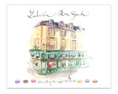Laduree shop Paris print, Watercolor painting, Parisian architecture, French Home decor, Architectural poster, Paris wall art, Street sketch