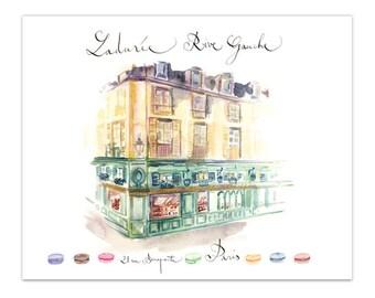 Laduree shop Paris print, 8X10 Watercolor illustration, Parisian architecture home decor, French architectural drawing poster Paris wall art