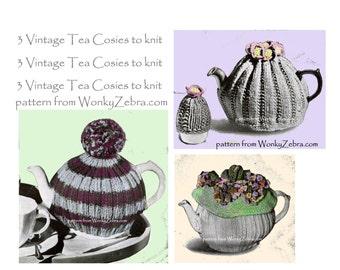 Vintage knit tea cosy pattern for 3 tea cosies knitted teacozy teapot knitting Pattern with pompon pompom felt flower PDF 856 WonkyZebra