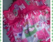 Baby girl fleece blanket - personalized receiving blanket - baby throw - tie knot blanket - teddy bear girl nursery