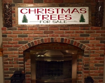 Large Vintage Inspired Rustic Wooden Framed Handpainted Christmas Trees For Sale Sign