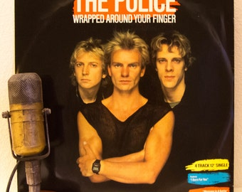 """ON SALE The Police (with Sting) 12"""" EP Vinyl Record 1980s Pop Rock """"Wrapped Around Your Finger"""" (1983 A&M  w/""""Message In A Bottle(Live)"""""""