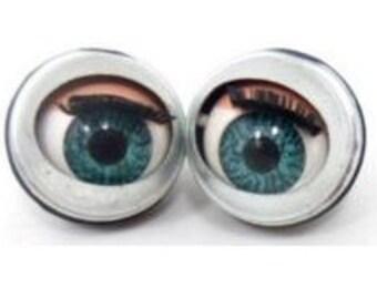 50 pairs , 100 pcs. doll sleepy Winking flirty blinking metal blue eyes 24mm