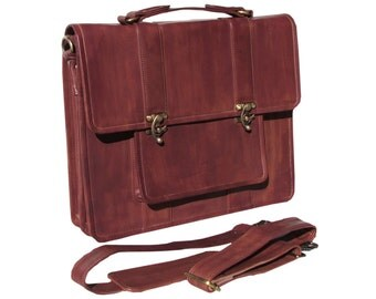 "Leather Messenger Bag, Leather Laptop Bag, Satchel, Macbook Pro 15"", Leather Man Bag in Mahogany-MB29e"