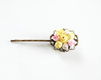 Roses hair pin, Colorful flower hair pin, Flower bobby pin, wedding hair accessories, flowergirl accessories