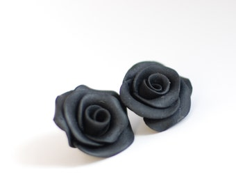 Black roses beads, Flower beads, Floral beads, handmade beads - polymer clay - 2 pcs