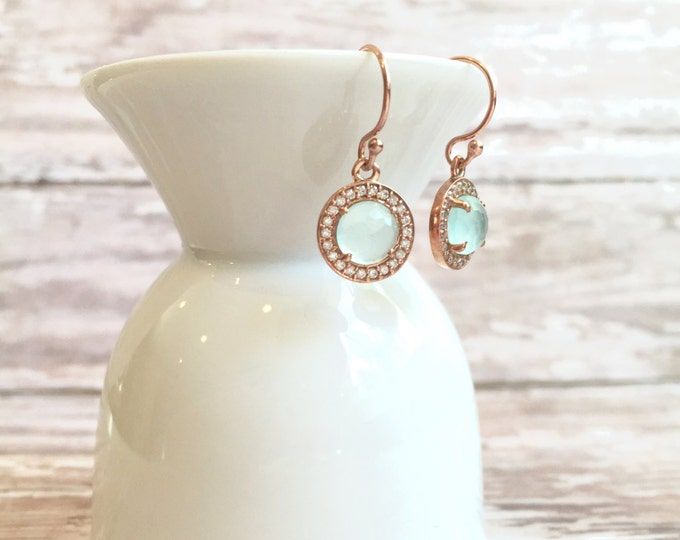 Delicate Chalcedony and White Topaz Earrings in Rose Gold