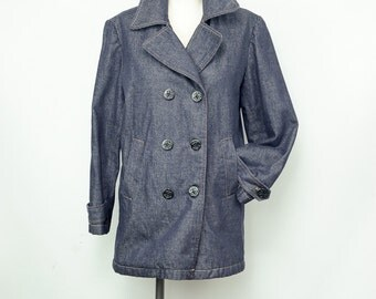 Vintage Dark Raw Denim PeaCoat Gap with Anchor Buttons and Front Pockets Size Small Quilted Lining