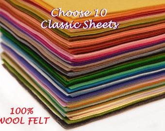 100% Classic Wool Felt - 10 sheets -You Pick the Colours