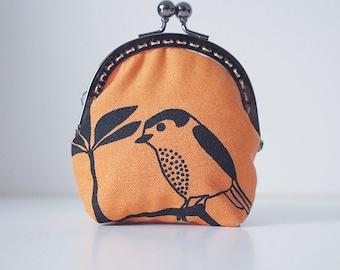 Coin Purse // Lovely bird // Orange