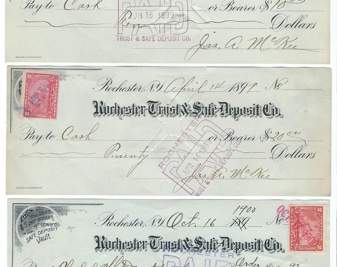 3 Antique Canceled Bank Checks from Rochester Trust & Safe Deposit Co., 1899-1900; with 2 Cent Early Stamp