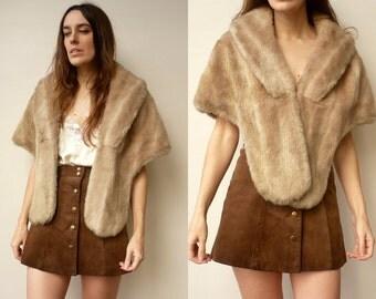 1970's Vintage Mink Faux Fur Collar Tippet Stole Shrug Caplet